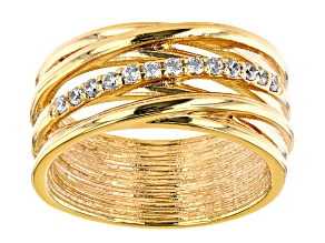 White Cubic Zirconia 18K Yellow Gold Over Bronze Multi-Row Ring