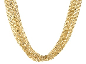 18K Yellow Gold Over Bronze Diamond-Cut Flat Rolo Necklace