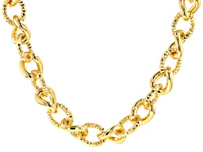 18K Yellow Gold Over Bronze Diamond-Cut Curb Chain