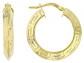 10K Yellow Gold Greek Key Hoop Earrings 15mm
