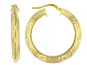 10K Yellow Gold Greek Key Hoop Earrings 20mm