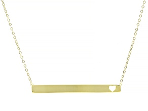 14k Yellow Gold Heart Bar Necklace 18 inch
