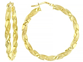 10k Yellow Gold 30mm Greek Key Twist Hoop Earrings