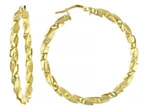 10k Yellow Gold 35mm Greek Key Twist Hoop Earrings