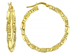 10k Yellow Gold Diamond Cut Twist Hoop Earrings