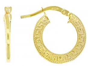 10k Yellow Gold 10mm Greek Key Hoop Earrings