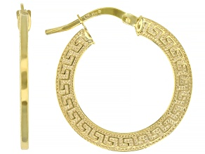 10k Yellow Gold 15mm Greek Key Hoop Earrings