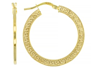 10k Yellow Gold 20mm Greek Key Hoop Earrings
