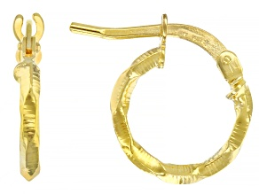 10k Yellow Gold Diamond Cut Hoop Earrings 8mm