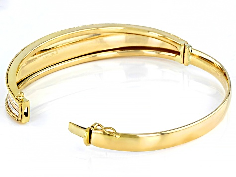 14K YELLOW, WHITE AND ROSE GOLD CONCAVE HINGED BANGLE BRACELET