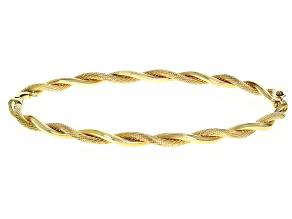 14K YELLOW GOLD TWIST HINGED BANGLE BRACELET