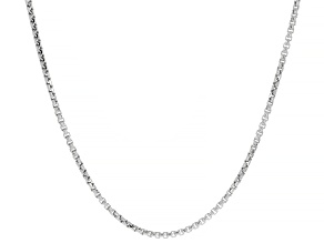 14K WHITE GOLD BOX CHAIN NECKLACE 24 INCHES