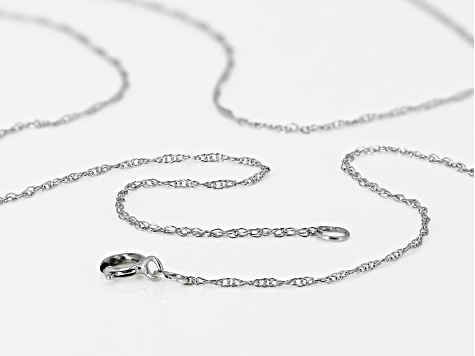10k White Gold Rope Chain Necklace 18 inch