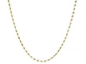14K YELLOW GOLD FLAT LINK CHAIN NECKLACE 18 INCHES