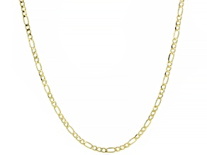 14K YELLOW GOLD FIGARO CHAIN NECKLACE 24 INCHES