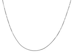 10k White Gold Box Chain Necklace 18 inch
