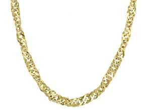 10k Yellow Gold Singapore Chain Necklace 24 inch