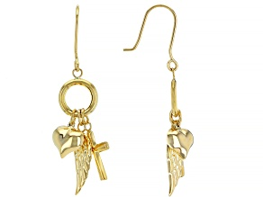 14K YELLOW GOLD DANGLE EARRINGS WITH HEART CROSS AND ANGEL WING CHARMS