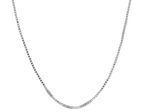 10k White Gold Box Chain Necklace 16 inch