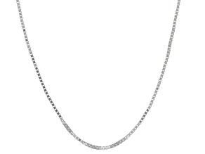 10k White Gold Box Chain Necklace 16 inch