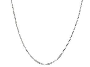 10k White Gold Box Chain Necklace 20 inch