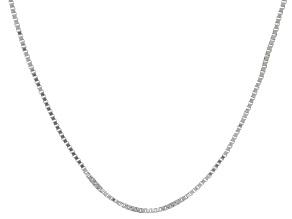 10k White Gold Box Chain Necklace 22 inch
