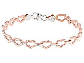 10k White And Rose Gold Heart Link Bracelet