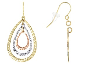 10k Yellow, White, and Rose Gold Dangle Earrings