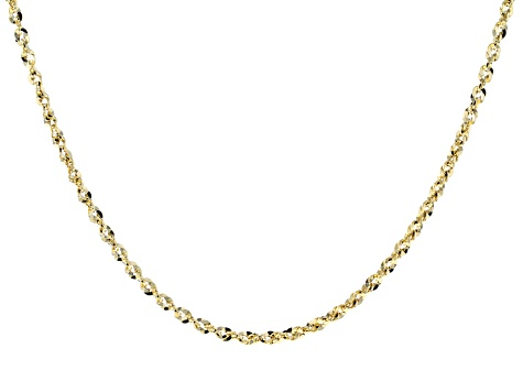 14K Yellow Gold Bold Grande Mirror Rope Link Necklace 18 Inches.