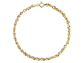 14K Yellow Gold Bold Grande Mirror 3.5mm Rope Link Bracelet 8 Inches