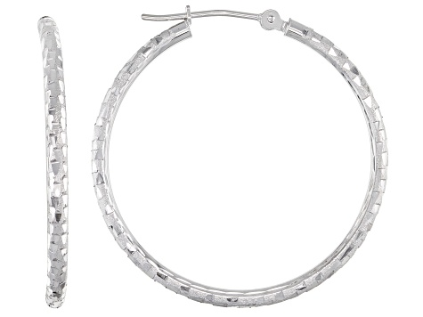 10k White Gold Hoop Earrings