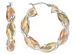 14K YELLOW GOLD AND PINK RHODIUM TWIST HOOP EARRINGS