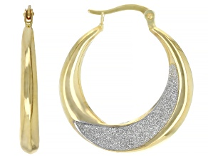 14K YELLOW GOLD GLITTER HOOP EARRINGS