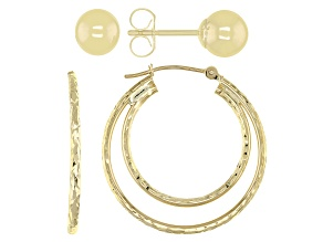 10k Yellow Gold Hoop and Stud Earrings Set