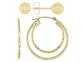 10k Yellow Gold Hoop and Stud Earrings Set