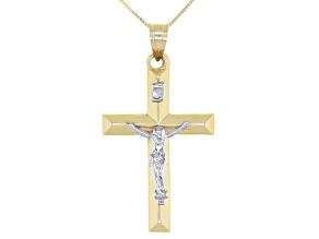 10k Yellow and White Gold Cross Pendant With Chain