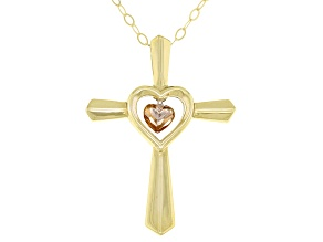10k Yellow And Rose Gold Cross Pendant With Chain