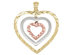 10k Yellow, White, And Rose Gold Heart Pendant