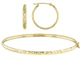 10k Yellow Gold Hoops and Bracelet Set