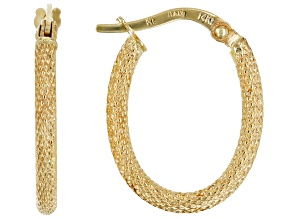 14k Yellow Gold Textured Mesh Hoop
