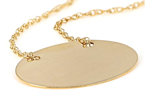 14k Yellow Gold Oval Pendant With Chain