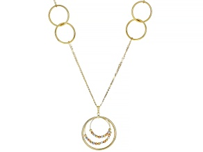 14K YELLOW GOLD STATION NECKLACE WITH TRI COLOR GOLD BEAD ACCENTS 16.5 INCHES