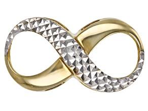 14k Yellow Gold And Rhodium Infinity Slide Pendant