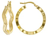 10K Yellow Gold Wavy Greek Earrings