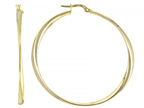 14K Yellow Gold Polished 3X40MM Twisted Round Hoop Earrings