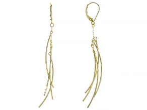 14K Yellow Gold Polished Curved Multi-Tube Drop Earrings