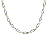 14K White and Yellow Gold Polished Diamond Cut Oval Link 16.5 Inches Necklace