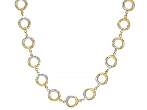 "14K Yellow Gold with Rhodium Accent Polished Twist Circle 17"" Necklace"