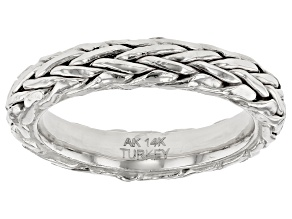 14K White Gold Wheat Band Ring