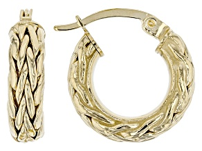 14K Yellow Gold 1/2 Inch Wheat Border Hoop Earrings